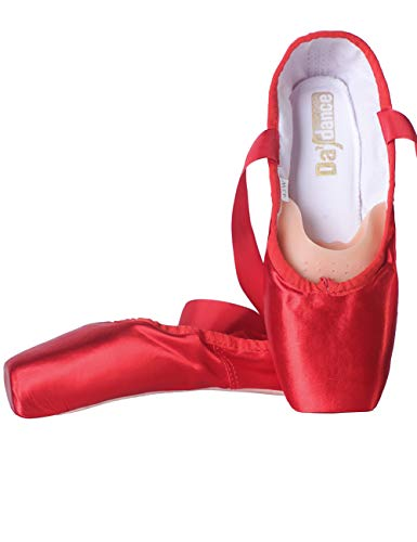 Daydance Kids Pointe Shoes for Girls, Ribbon Ballerina Shoes with Toe Pads Red