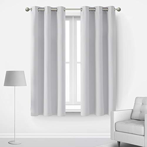 Deconovo Room Darkening Blackout Curtains for Windows Energy Efficient Thermal Insulated Grommets Drapes for Bedroom Living Room Kids Adults Teen Rooms, Set of 2, Each 42x63 in, Light Greyish White