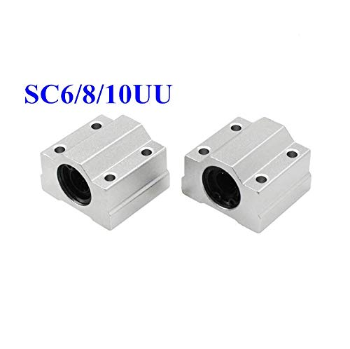 without 4pcs SC6UU SC8UU SC10UU Linear Ball Bearings For XYZ Rail Shaft Linear 3D Printer Part Aluminium Alloy Pulley Wheel Parts (Size : SC8UU)