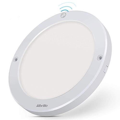 Albrillo Plafonnier LED - 18W avec Détecteur de Mouvement avec Détection Infrarouge, Angle de Faisceau 120°, 1300LM 2700K Blanc Chaud, Lampe de Plafond pour Couloir, entrée
