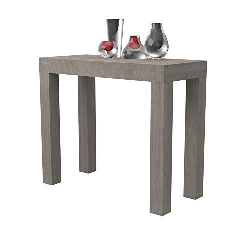 Tavolo consolle allungabile Nettuno in folding laminato - allungabile da 40 cm 300 cm, in 10 colorazioni legno - arredo cucina casa design (Rovere grigio)