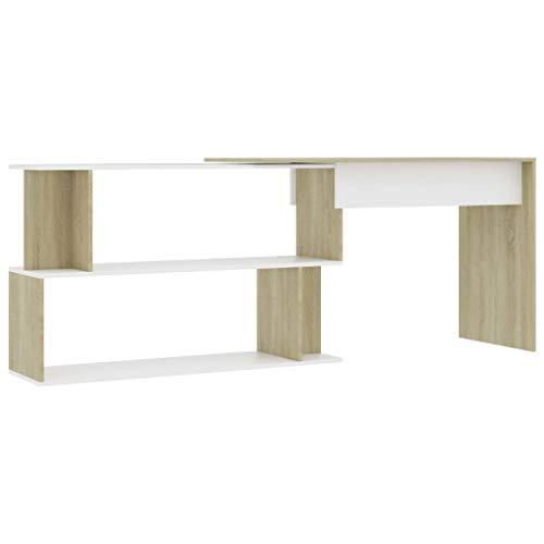vidaXL - Scrivania angolare in legno di rovere Sonoma, 200 x 50 x 76 cm, colore: Bianco