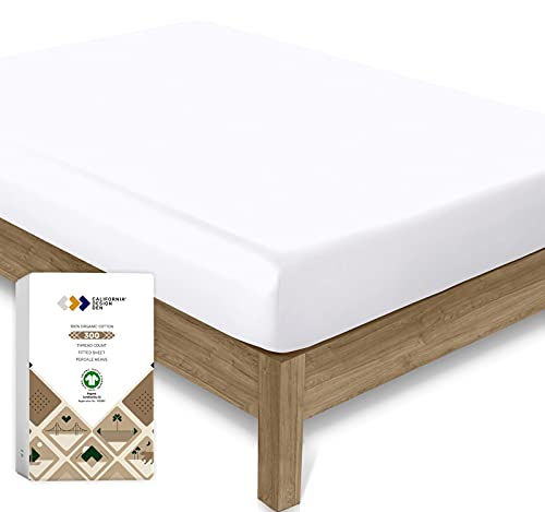 100% Organic Cotton Deep Fitted King Size Sheets, Soft Cool & Crisp Cot Bed...