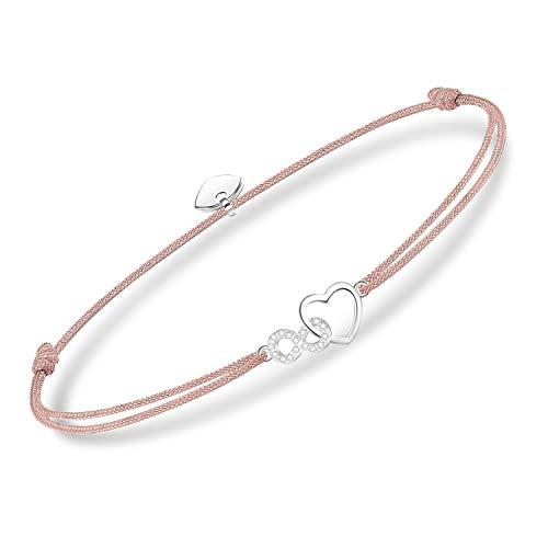 Weihnachtsgeschenke beste freundin 925 Sterling Silber Damen Armband set für Frauen, Infinity Herz Anhänger mit Zirkonia Armkette handgeflochten Armreif Geburtstagsgeschenk (925 pink armband)