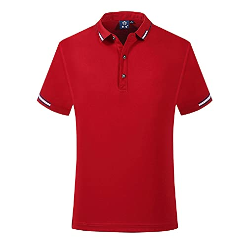 FDJIAJU Kurzarm Polo T Shirts Für Herren - Summer Solid Color Mens with Short Sleeve Cotton Spandex Casual Tops Fashions Men Polo Shirts Clothing,Red,4XL