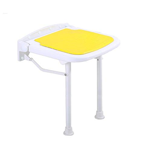 Affordable MCLY Shower Seats, Yellow Foldable Wall-Mounted Shower Stool/Elderly/Disabled/Pregnant Wo...