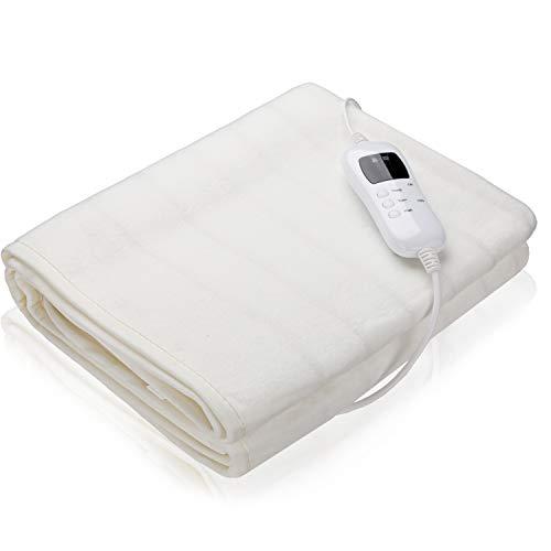 VINGO Wärmeunterbett, 150X80cm Elektrische Heizdecke mit 9 Temperaturstufen 9 stufen Timer, Abschaltautomatik Wärmebett Waschbar Wärmedecken für alle Gängigen Matratzen