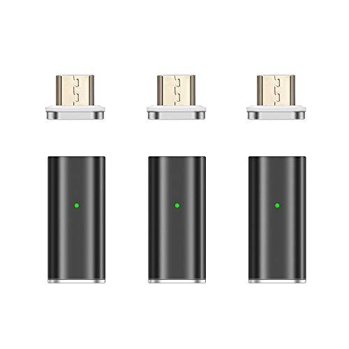 NetDot Gen10 Adaptador Magnético de Carga Rápida y Micro USB(Hembra) a Micro USB(Masculino) para Teléfonos Inteligentes Android (3 Pack Negro)