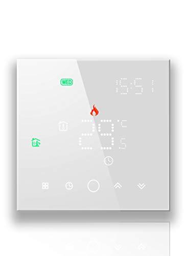 BecaSmart Serise 003 Termostato WiFi compatible con calefacción eléctrica, apto para teléfono móvil, control remoto de trabajo con Alexa, Google Home (calefacción eléctrica, blanco (WiFi))