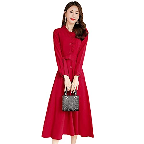 wkd-thvb Vestido de lino de algodón para mujer, primavera, otoño, vestido de manga larga, vestido de talla grande, Vino Tinto, XXL
