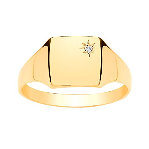 9ct Yellow Gold Mens Diamond Set Plain Polished Square Signet Ring - Engravable - 9ct Yellow Gold - Size R