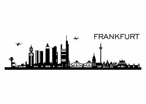Wandtattooladen Wandtattoo - Skyline Frankfurt am Main Größe:200x50cm Farbe: senf