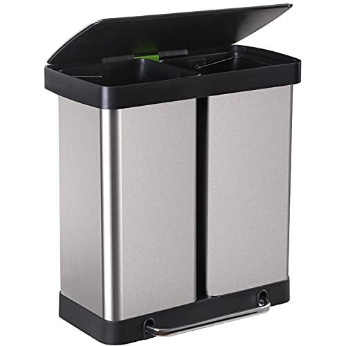 Kitchen Trash Can 16 Gallon/ 60L Large Stainless Steel Step Garbage Can with Lid Step Trash Bin 2-Compartment Fingerprint-Proof Brushed for Office Bedroom Bathroom