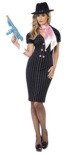 Smiffy'S 23697L Disfraz De Compañera De Gánster Con Vestido Lápiz De Raya Diplomática Y Bufanda, Negro, L - Eu Tamaño 44-46