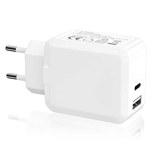 XUAMZ - Cargador USB C, 30 W, 2 puertos de carga rápida tipo C, plegable, fuente de alimentación PD para iPhone 12/12 Pro/12 Pro Max/11/11 Pro/XS/XR/X, Galaxy S10, iPad Pro y más