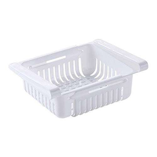 Estante de almacenamiento de cocina, cajón de nevera, tablilla, organizador de cocina, ajustable, estante para nevera, congelador, estante extraíble para cajón y ahorro de espacio (color blanco)