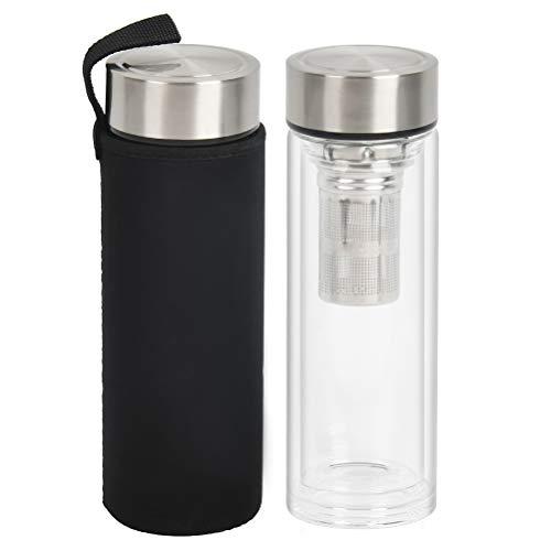 Bottiglia Termica per Tè in Vetro con Filtro per l'acqua, con Filtro per Infusore in Acciaio Inossidabile, Bottiglia d'acqua in Vetro da 450 ml, Doppia Parete, Tazza da Viaggio con Protezione