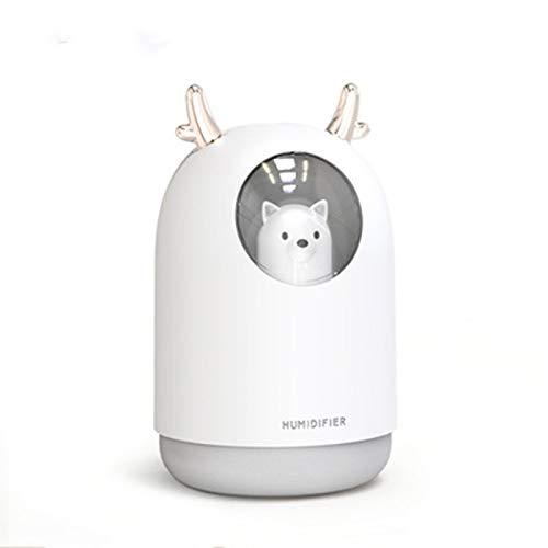 Ajustable Humidificadores, 300ml humidificador de Vapor frío, Mini USB humidificadores for el Dormitorio for la Sala de Coches luz de la Noche humidificador de Aire Fácil de Limpiar (Color : White)