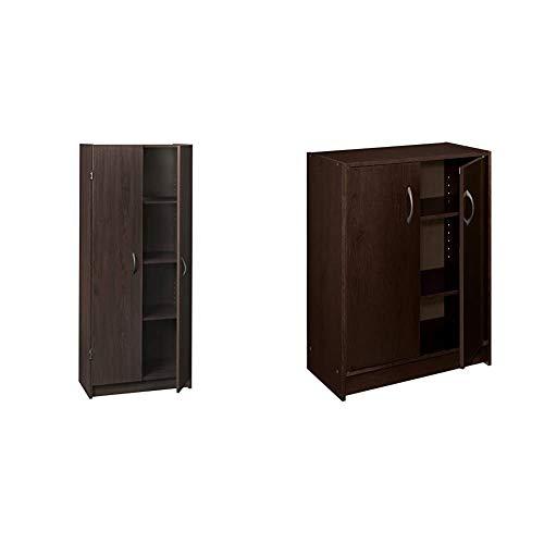 ClosetMaid 1556 Pantry Cabinet, Espresso & 8925 2-Door Stackable Laminate Organizer, Espresso