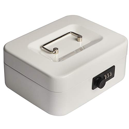 """Decaller Cash Box with Combination Lock, Safe Metal Small Locking Box with Money Tray, 7 4/5"""" x 6 4/5"""" x 3 3/5"""" (Small, White)"""
