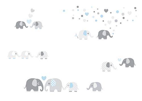 lovely label Pegatinas Infantiles de Pared de Elefante - Adhesivo Infantil Libre de PVC para Habitaciones de Niños y Bebés - Adhesivos Infantiles de 60 Unidades/Azzuro & Gris