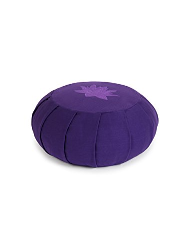 Yoga Studio YS Med/Cush/PURP/Lot Cojín Redondo para meditación de alforfón de zafu, diseño de Hojas de Loto, Color Morado, Unisex, Normal