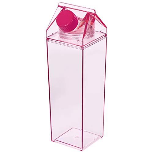 Hemoton 500ML Leere Milchflaschen mit Deckel Saftflaschen Trinkflasche Saftkrug Milch Plastikflasche Plastik Wasserflasche Transparent Smoothie Flasche für Saft Joghurt Tee Kaffee
