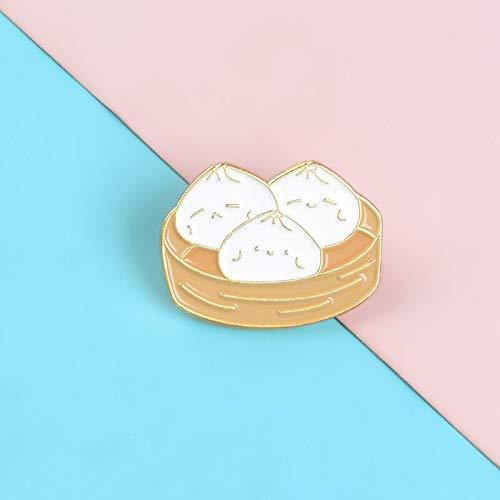 QISKAII Cartoon Food Pins Chinesische Spezialnahrung Baozi Emaille Metall Pins Nettes Gesicht Broschen Abzeichen Revers Wäscheklammern Frauen Schmuck Geschenk