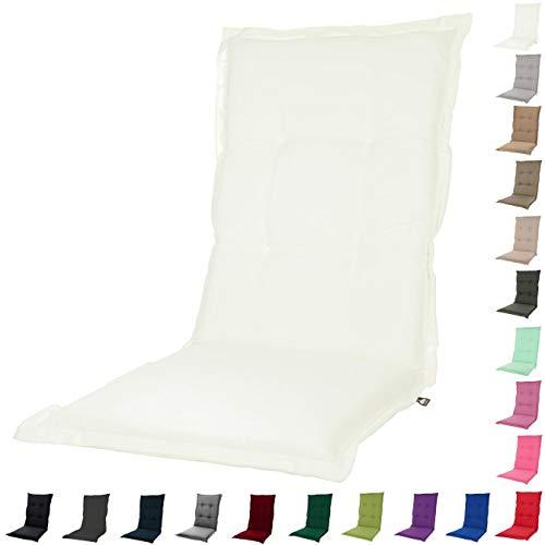 KOPU® Auflage für Hochlehner Prisma Ivory | Polster für Gartenstühle | Weiß Garten Kissen 125 x 50 cm | 19 einfache Farben | Robuster Schaumstoff für zusätzlichen Komfort