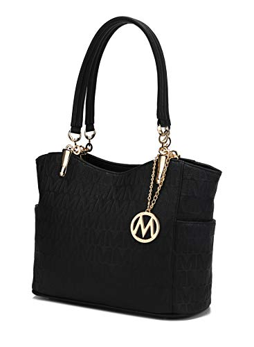 Mia K Collection Shoulder Handbag for Women: Vegan Leather Satchel-Tote Bag, Top-Handle Purse, Ladies Pocketbook Black