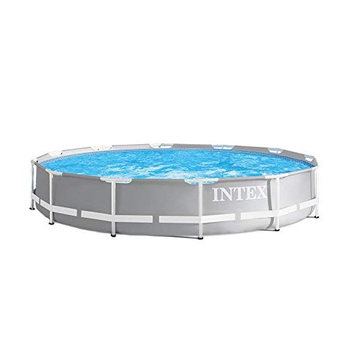 Intex 26710EH Prism 12ft x 30in Metal Frame Outdoor Above Ground Round Swimming Pool with Easy Set-Up & Fits up to 6 People (Filter Pump Not Included)