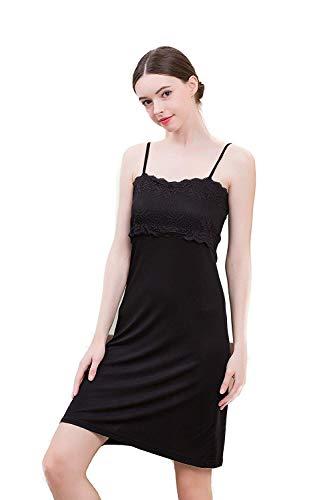 UK_Stone Damen 100% Seide Nachthemd Unifarbe Nachtkleid mit verstellbaren Schultergurt, Schwarz