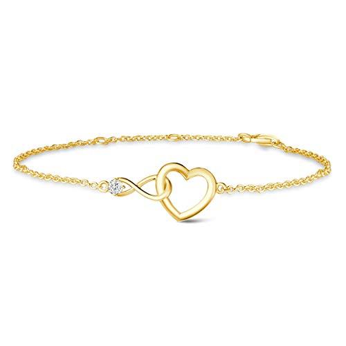 FANCIME Damen 925 Sterling Silber Armband Gold Herz Infinity Armband, Frauen Schmuck, Valentinstag Jahrestag Geburtstag Weihnachten Schmuck Geschenk Für Frauen/Her/Mädchen/Mutter/Freundin/Ehefrau