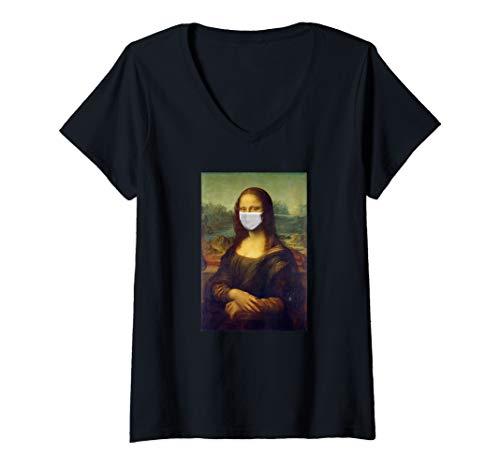 Damen Mona Lisa Mundschutz Erkältung Influenza Grippe Virus T-Shirt mit V-Ausschnitt