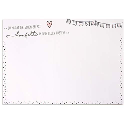 Schreibtischunterlage Konfetti I DIN A3 Format I aus Papier zum Abreißen I mit Spruch Statement Motivation I für Notizen, als Malunterlage I dv_383