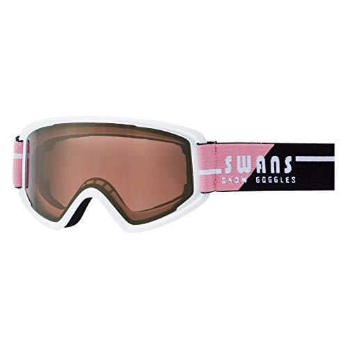 SWANS(スワンズ) スキー スノーボード ゴーグル くもり止め ミラーレンズ コンパクトモデル 170 170-MDH_W/PI ホワイト×ピンク/ピンクミラー×ブライトピンク