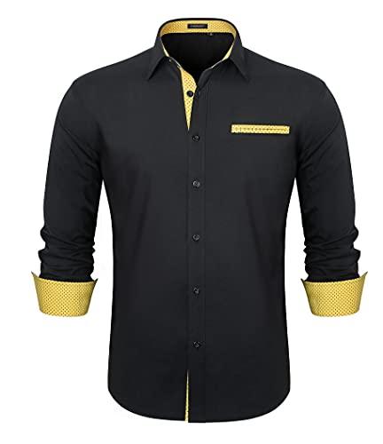 HISDERN Camisa Negra Hombre Manga Larga Camisas de Vestir Camisa Formal para...