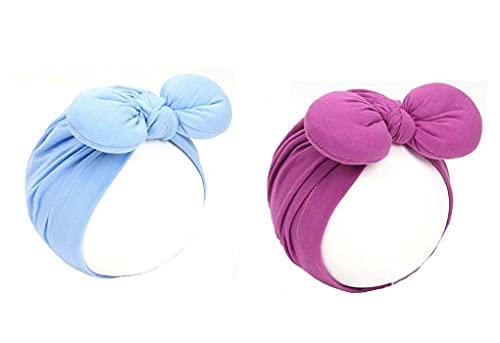 2pcs Bebé Niñas Niños Algodón Turbante Head Wrap Plain Lovely Infant Beanies Cap Headbands Indian Bohemian Head Knot Wrap Hat 8-36 Meses
