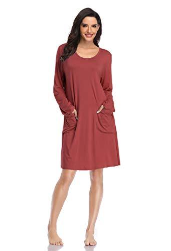 SHEKINI Donna Camicia da Notte in Modal Manica Lunga Pigiama T-Shirt Vestito Sciolto con Tasca(Rosso Mattone,S)