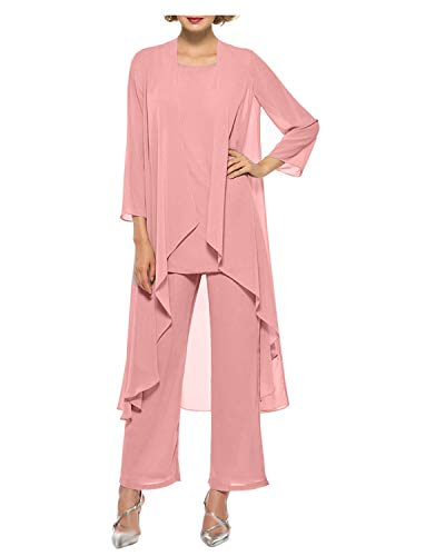 Women's Chiffon Pant Suits Mother of The Bride 3 Pieces Long Jacket Dress Party Outfits