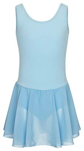 tanzmuster Kinder Ballettkleid Bella aus Baumwolle, breite Träger, Chiffon Rock und besonderer Rückenausschnitt in hellblau, Größe:140/146