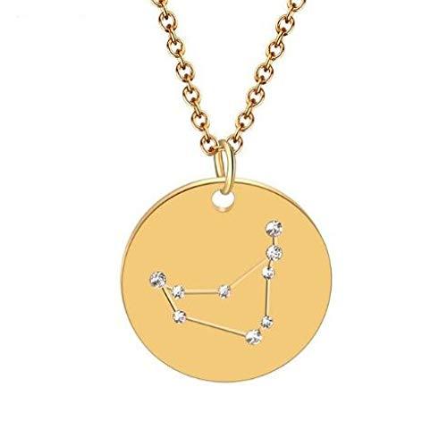 Colgante Del Zodiaco,Capricorn gold crystal zircon jewelrysymbol acero inoxidable retro encanto arte clavícula cadena astrología collar día de la madre regalo moda mujeres amantes regalo de cumpleaño