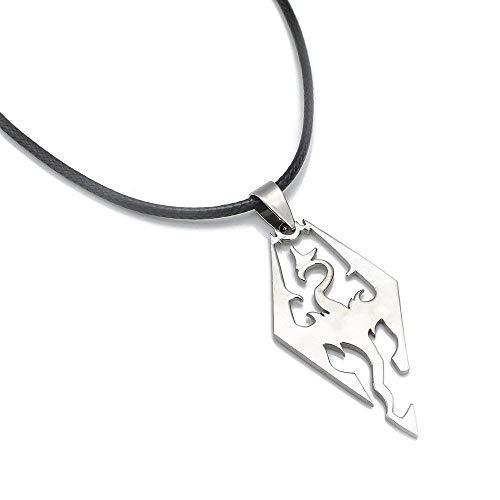 Uteruik The Elder Scrolls Skyrim Dragon Logo Ciondolo in Acciaio Inossidabile con Catena a Corda Nera