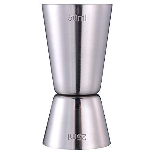 Misurino Cocktail - Dosatore Cocktail Jigger in Acciaio Inox a Doppia Spirito Misura Cup 25ml/50ml (Argento)
