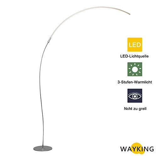 WAYKING Morderne Bogenlampe Minimalistische 15W LED Energieeffiziente Stehlampe mit Fußdimmer 3 Stufen Helligkeiteinstellbar, Dimmbar, geeignet für Wohnzimmer, Schlafzimmer und Studierziemmer - Silber