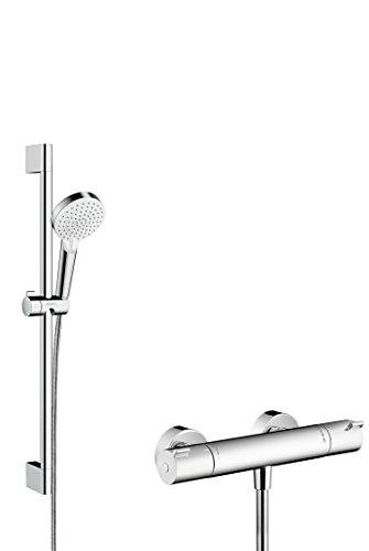 Hansgrohe 27812400 Crometta Vario combinación de set de ducha y termostato, 2 tipos de chorro, 0,65m, blanco/cromo