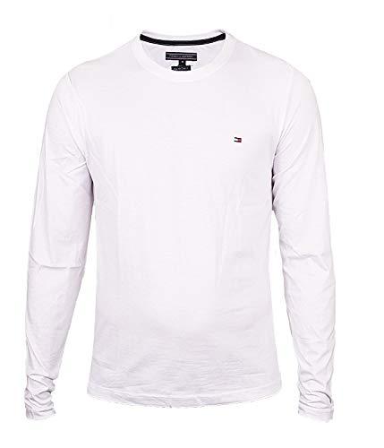 Tommy Hilfiger Basic Crew Neck Longsleeve Langarmshirt für Herren, Größe:XL, Farbe:White