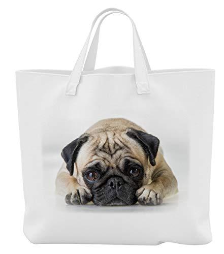 Merchandise for Fans Einkaufstasche - 45 x 42 cm x 9,5 cm, 18 Liter - Motiv: Mops träumt vor Sich hin[ 18 ]