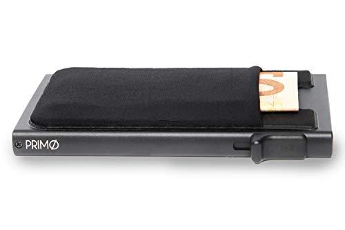 PRIMØ Wallet Cardholder I Herren Kreditkartenetui mit RFID-Schutz I Slim Wallet I Business Portmonee I Geldbeutel in Schwarz und Braun I Geldbörse (Schwarz ohne Ledermantel)