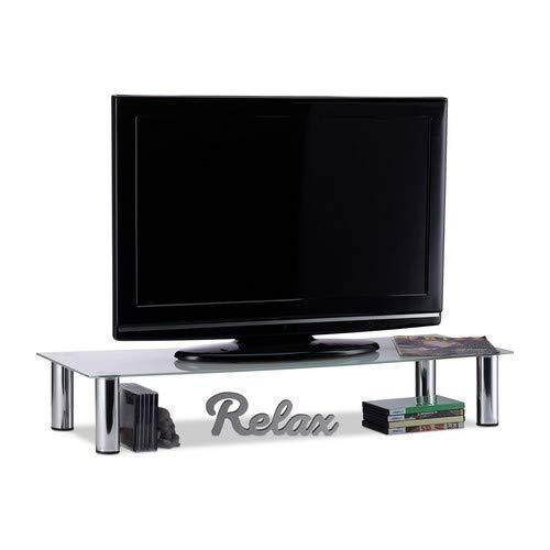 Relaxdays, weiß/Silber TV-Tisch Glas, verchromte Metallbeine, Bildschirmerhöhung, rechteckig, Glasaufsatz, 100x35x17 cm, Standard